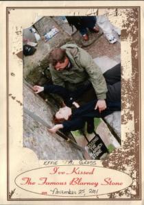Effie Gross kissing the Blarney Stone 2001